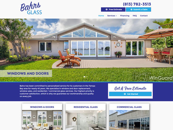 Bahr's Glass Landing Page