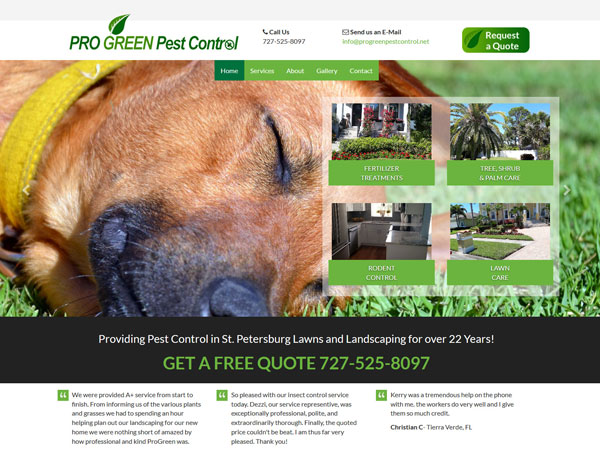 ProGreen Pest Control Landing Page
